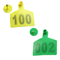 100 Sets Quality Signs with the word ear Laser Typing Copperhead earrings Farm animal identification card Yellow Green Tag BS