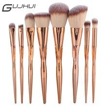 GUJHUI Pro 8pcs Metal Makeup Brushes Set Cosmetic Face Foundation Powder Eyeshadow Eyebrow Blush Lip Plating Make Up Brush Kit