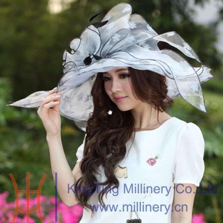 c910bf2eeaf Free Shipping Fashion New Women Organza Hat Church Hat Wide Brim Ruffle  Flower Fashion Dress Fancy Girl Wedding Dress Big Flower-in Sun Hats from  Apparel ...
