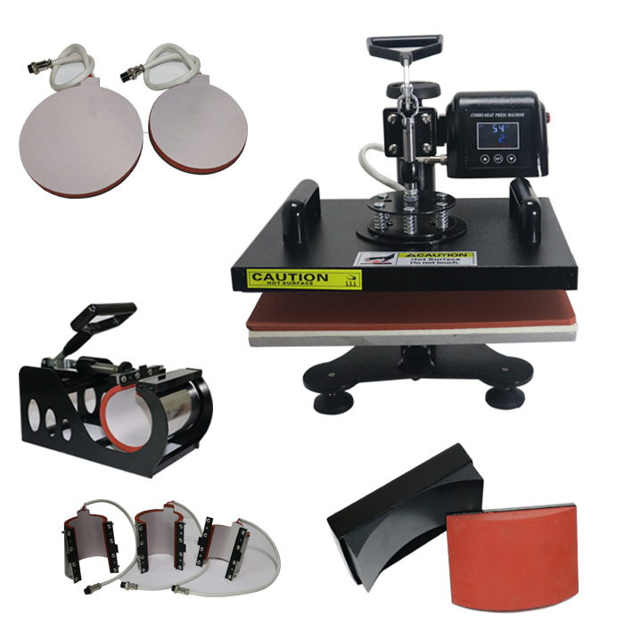 ToAuto Digital Sublimation Transfer 8 In 1 Hot Press Machine T Shirts Mug Cap Embossing Printer Swing-Away Manual Heat Machine new design single display 7 in 1 heat press machine mug cap plate tshirt heat press sublimation machine heat transfer machine