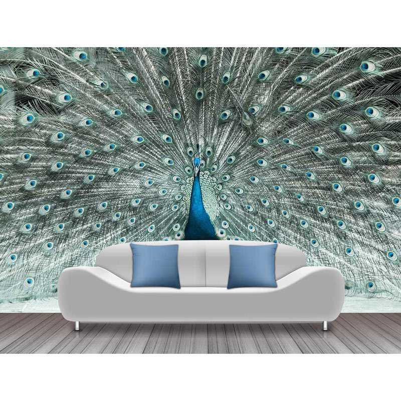 Custom Wall Paper Stickers Peacock Feather Photo Wallpaper Mural 3d Living Room Papier Peint Self Adhesive Vinyl Silk Wallpapers Wallpapers Aliexpress