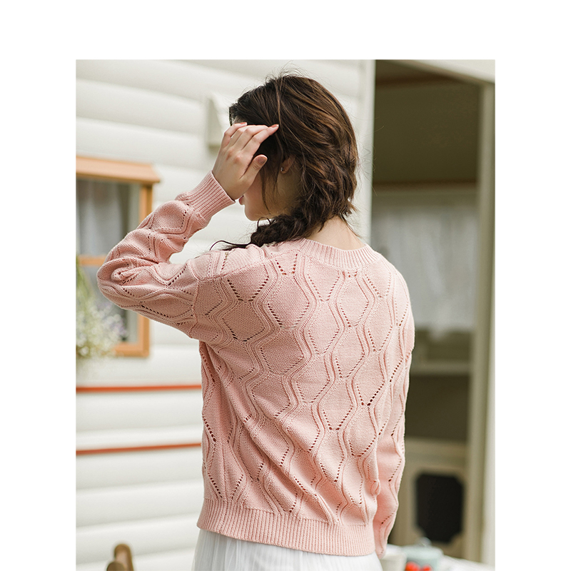 Pink Pull Trou Col Rond Out Broderie Chandail Automne Inman Femmes 2019 white Printemps IYbfy7v6gm