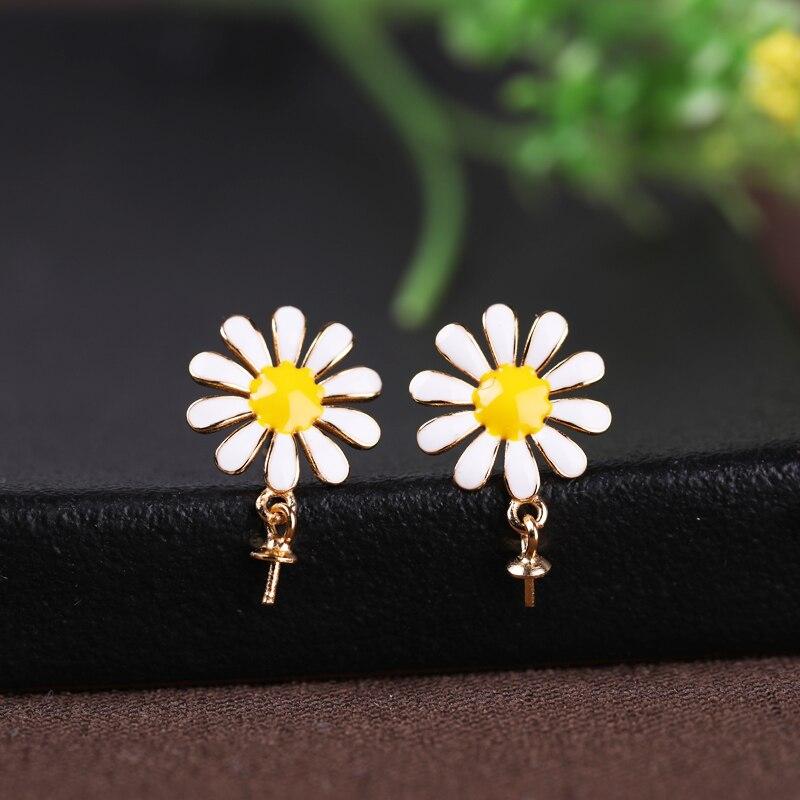 925 Sterling Silver Women Stud Earrings 7-12mm Pearl or Round Bead Semi Mount Earrings Cloisonne Setting