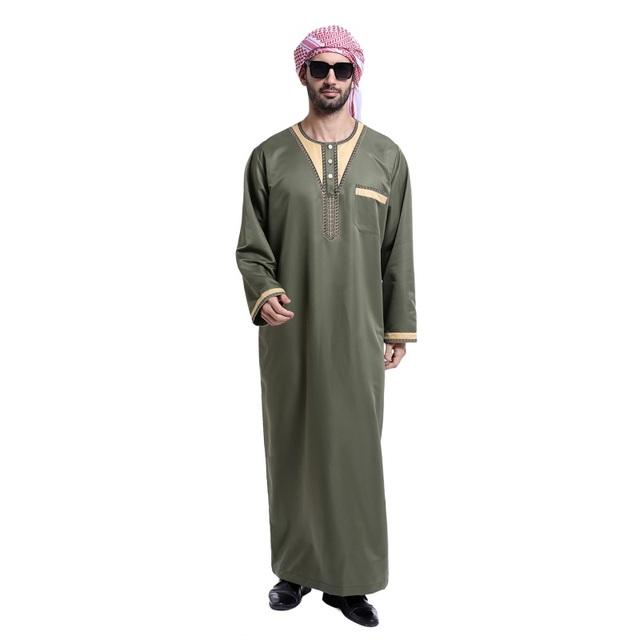 4 cores Vestuário Islâmico Muçulmano para homens Saudita abaya dubai Kaftan de mangas compridas dos homens Jubba plus size