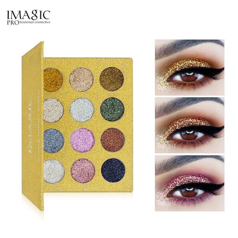 IMAGIC marka 12 paleta kolorowych cieni do powiek diament Rainbow brokat makijaż kosmetyki tłoczone brokat cień do powiek paleta magnes w Cienie do powiek od Uroda i zdrowie na  Grupa 1