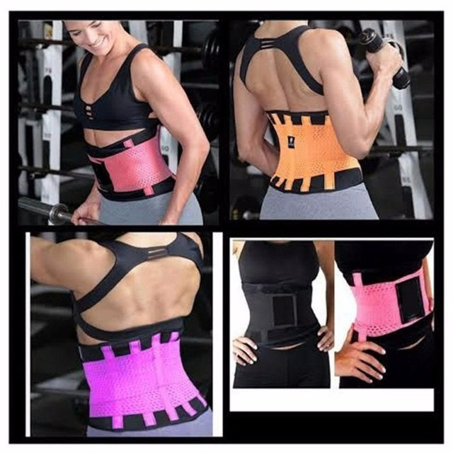 New Back Waist Support Women Slim Brace Belt Hot Waist Training Sweat Band Wrap Fat Fitness Women Waist Support Sweat Belt 2