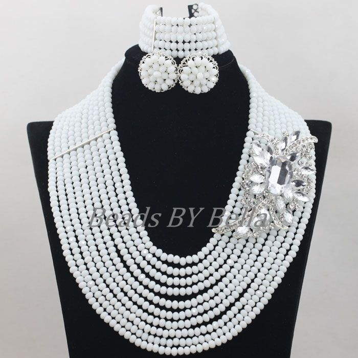 Handmade African Wedding Beads Bridal Jewelry Set Opaque White Crystal Jewellery Nigerian Beads Necklace Free Shipping ABF691Handmade African Wedding Beads Bridal Jewelry Set Opaque White Crystal Jewellery Nigerian Beads Necklace Free Shipping ABF691