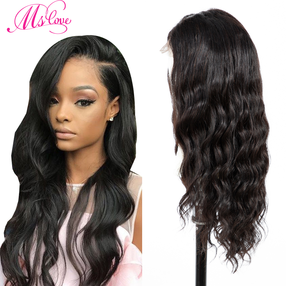 Ms Love 4X4 Lace Front Human Hair Wigs Body Wave Brazilian Human Hair Wigs For Black Women Natural Color 150% Density None-Remy(China)
