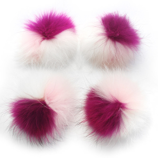 5pcs/ lot DIY 15cm Raccoon Fur pompom patchwork fur balls for kids children knitted hat cap beanies  and scarf real fur pompoms