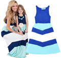 Matching Mother Daughter Dresses Sleeveless Striped Mother Daughter Dress Clothes 2016 Family Look Mom And Daughter Summer Dress
