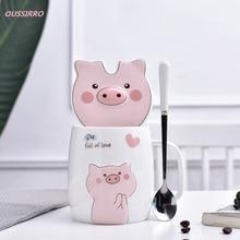 OUSSIRRO Cute Ceramic Cup Cartoon Mugs Creative Glass Large Capacity Milk Couple Present Coffee Gift Box