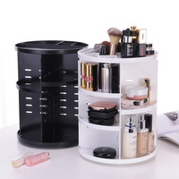 23*31cm Makeup Organizers Plastic Storage Rack Holder Pink 360 Rotating Cosmetic Organizer Box Bathroom Storage & Organization