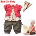 Baby Clothing Set!3 Pcs Kids Girls Fruits Pattern Top+Pants+Hat Set Outfits 0-3 Years Clothes Suit