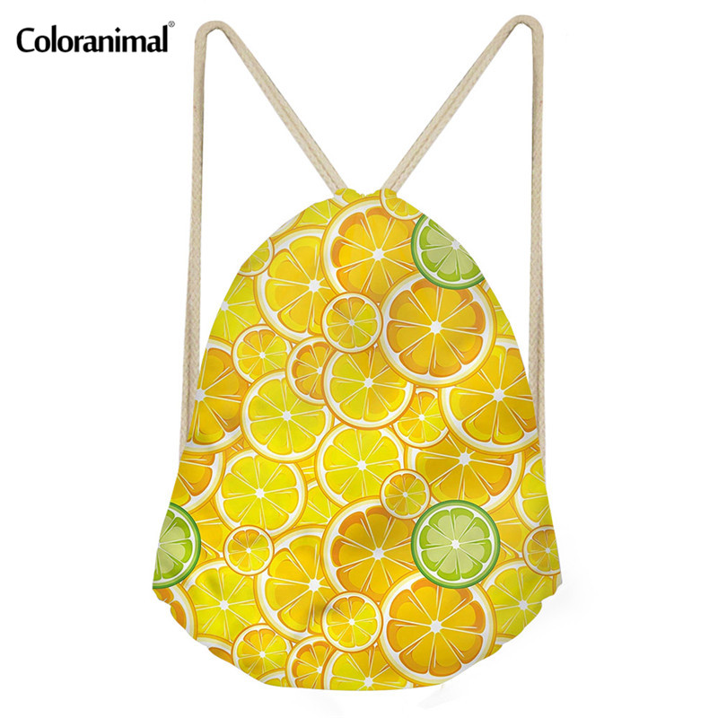 Coloranimal 3D Pineapple Print Women Softback Backpack Fruit Drawstring Bag For Women Shoes Sack Storage Bag Cinch Sack Satchel