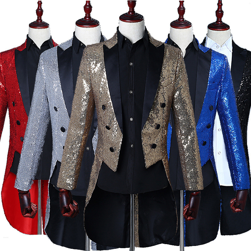 Free Shipping Gold Silver Magician's Tuxedo Men's Shine Sequins Wedding Singer Dress Suits Night Club Mens Stage DJ Show Suits
