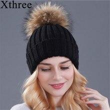 Xthree, шапка из меха норки и лисы, помпоны, зимняя женская шапка, шапка для девочек, вязаные шапки, шапка, фирменная Новинка, толстая женская шапка