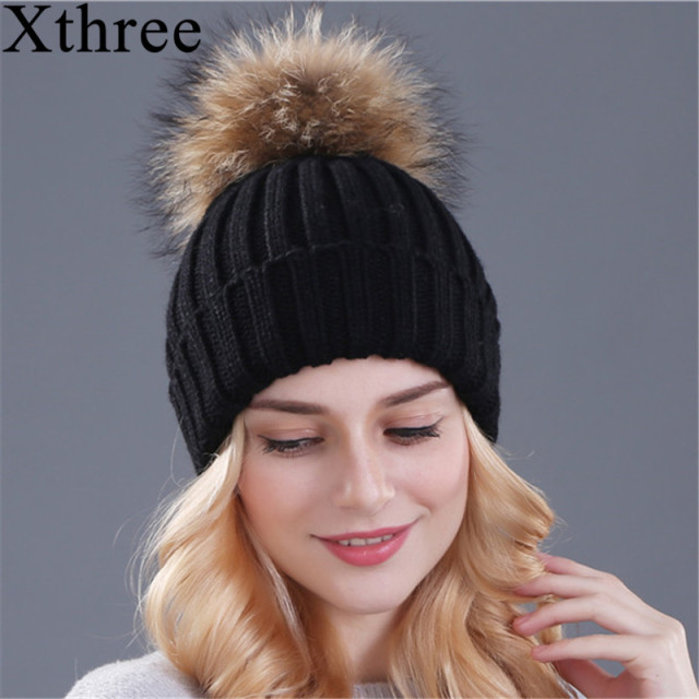 Fox fur ball pom poms winter hat knitted  beanies brand new thick cap