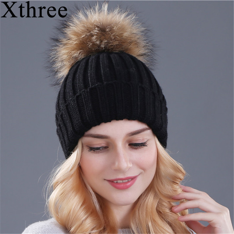Xthree mink and fox fur ball cap pom poms winter hat for women girl 's hat knitted  beanies cap brand new thick female cap new star spring cotton baby hat for 6 months 2 years with fluffy raccoon fox fur pom poms touca kids caps for boys and girls