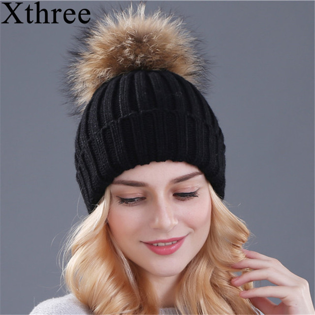cca406143aac1 Xthree mink and fox fur ball cap pom poms winter hat for women girl  s hat  knitted beanies cap brand new thick female cap