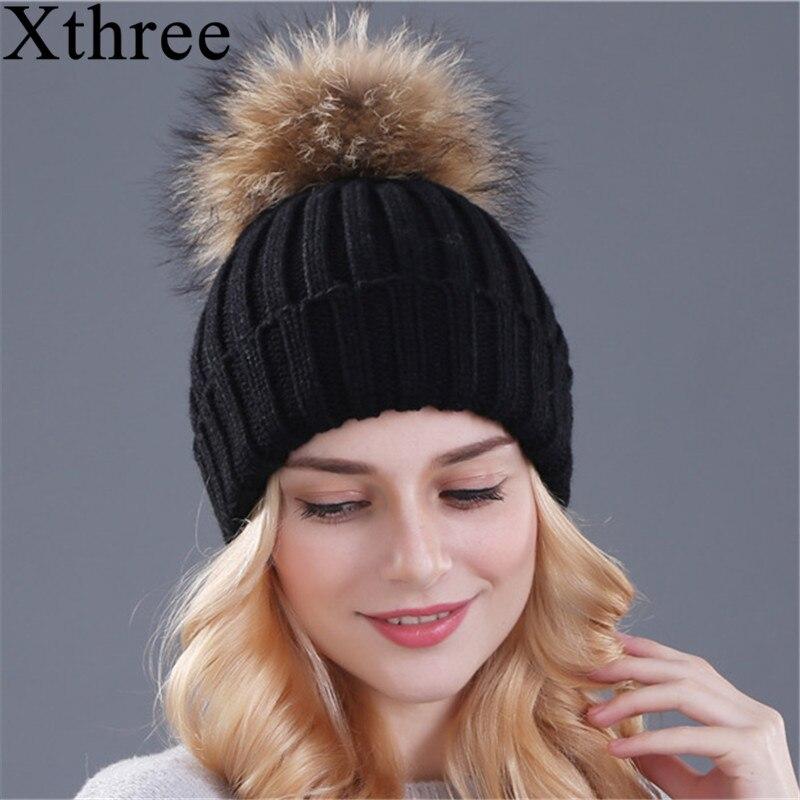 Xthree mink and fox fur ball font b cap b font pom poms font b winter