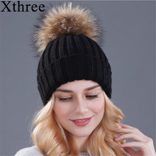 Xthree pompons de vison e pele de raposa bola cap chapéu de inverno para gorros cap chapéu de malha das mulheres menina nova marca grosso cap fêmea
