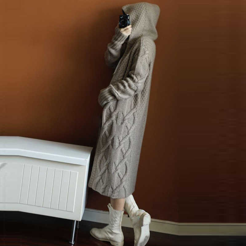 Осенне-зимнее новое пальто с капюшоном кашемировый кардиган свитер женское однотонное пальто толстый мягкий кардиган модное пальто длинное FP1336
