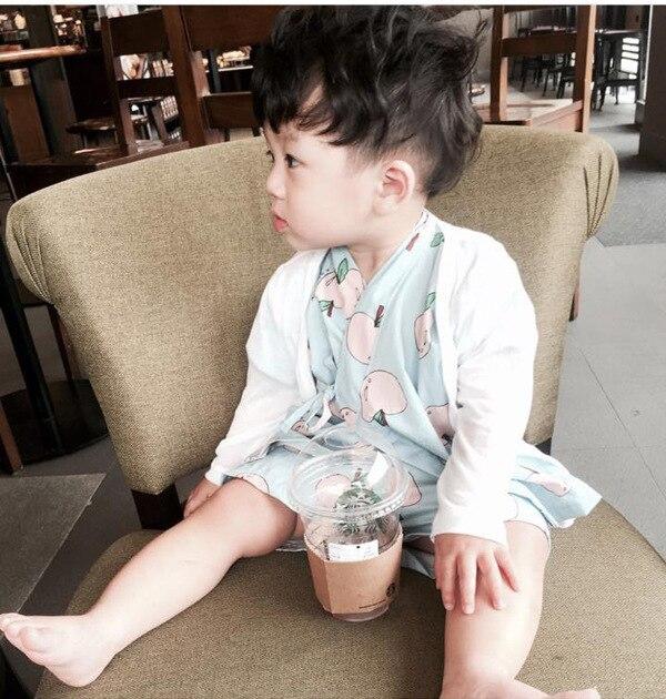 Детское кимоно с рисунком яблоко домашняя одежда пижамный комплект для мальчиков и девочек шнуровка короткий рукав детская одежда одежда н...