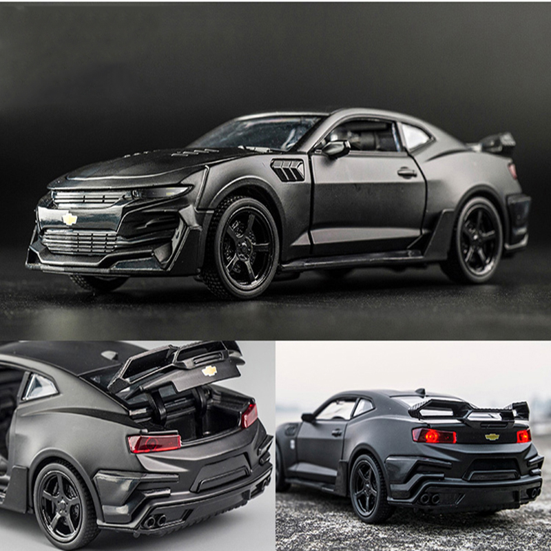 KIDAMI Camaro 1 32High Simulation Alloy Diecast Car Model Pull Back Sound Light Collection for Children