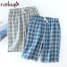 Летние новые хлопковые клетчатые Пижамные шорты мужские брюки