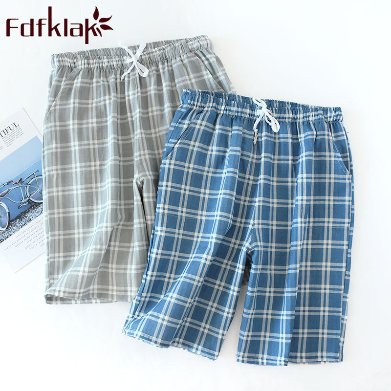 Summer New Cotton Plaid Sleep Shorts Men Pijama Pants Sleeping Trousers Mens Pyjama Bottoms Blue/Gray Men Home Wear Fdfklak