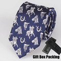 Italian Design 100% Silk Necktie in Gift Box Navy Blue with White Embroidery Horse Branded Ties