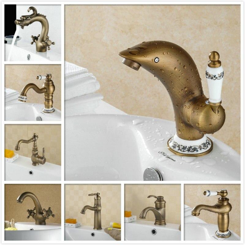 Ванная комната Винтаж кран Одной ручкой Палуба Гора бассейна сосуд раковина смеситель античная латунь Дельфин туалет раковина кран