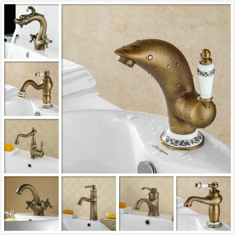 Bathroom Vintage Bathroom Faucet Single Handle Deck Mount basin ...