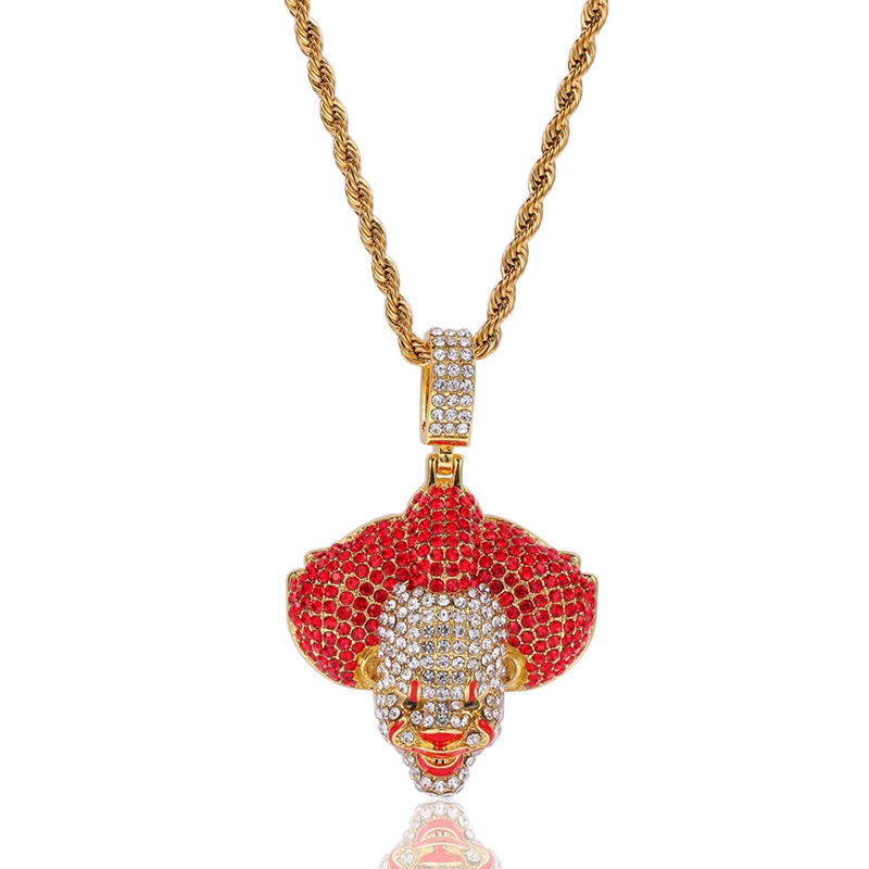 Personality men women pendant necklace studded with rhinestone three dimensional clown alloy pendant 24inch hip hop jewelry gift in Pendant Necklaces from Jewelry Accessories