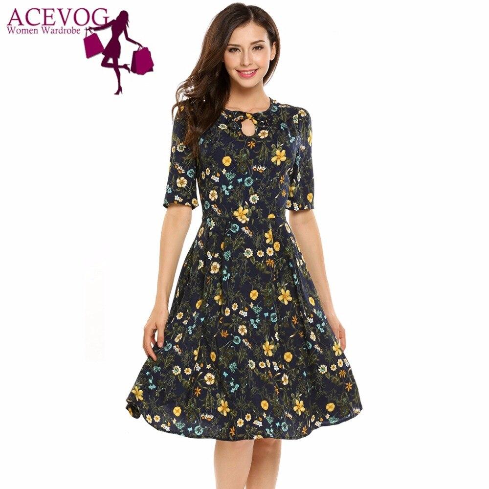 8a59291ea2be ACEVOG Women Vintage Dress Summer Autumn Keyhole Half Sleeve High Waist O- Neck Floral Print