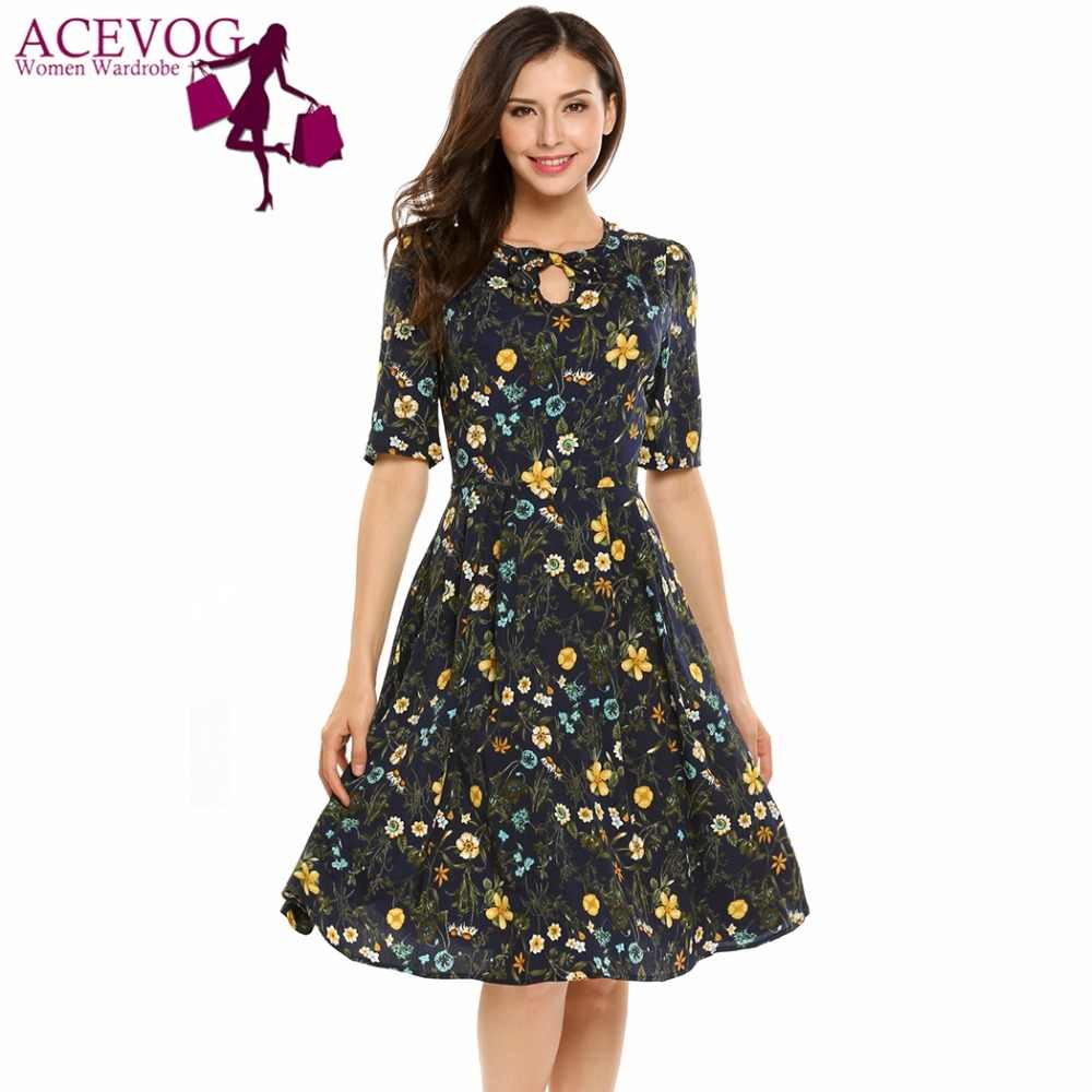 ce2bd420a138 ACEVOG Women Vintage Dress Summer Autumn Keyhole Half Sleeve High Waist  O-Neck Floral Print