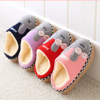2018 Children's cotton slippers at home warm cartoon winter slip non slip padded cute indoor slippers H04