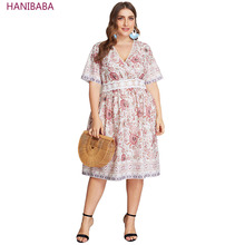 Summer Boho Dress Sexy V-neck Floral Stripe Print Lace Hollow Pink Chiffon Women Dresses Plus Size Casual Beach Party Female 4XL