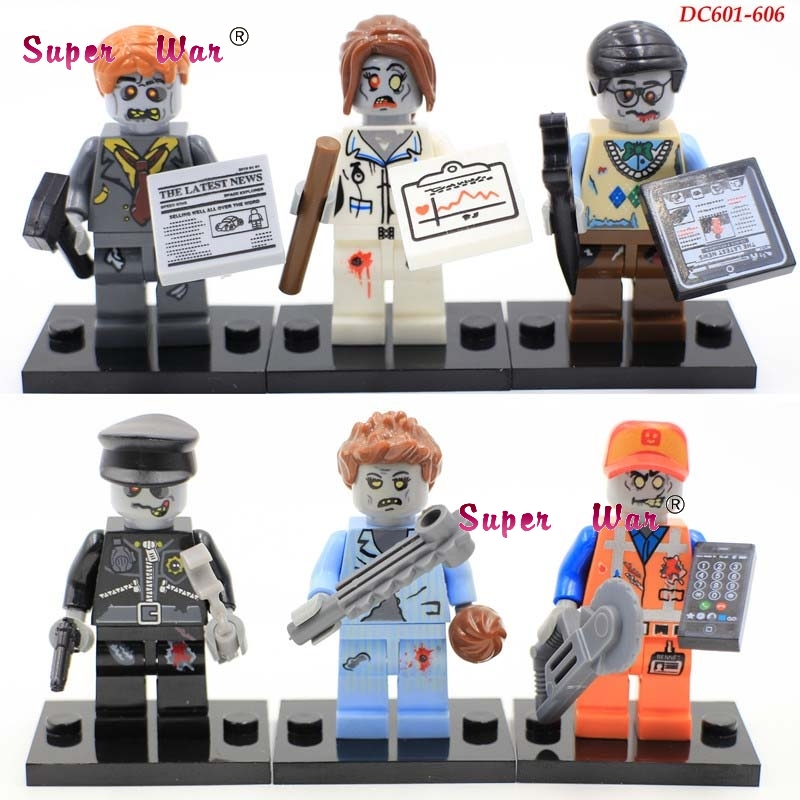 6pcs star wars super heroes zombie world The Walking Dead Series building blocks action  model bricks toys for children canton cd 1090 white high gloss пара
