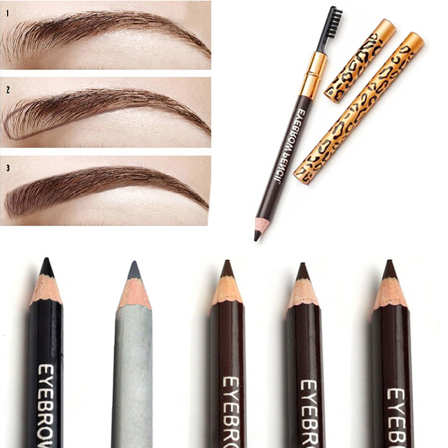 Best Women Waterproof Eyebrow Pencil With Brush Make Up Leopard maquiagem 5  Colors Shadow To Eyebrow 70a8ae413