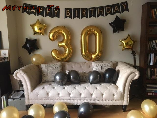 Mtrong Te 35pcs 30 Happy Birthday Balloons 30th Party Decoration America Foil Number Giant