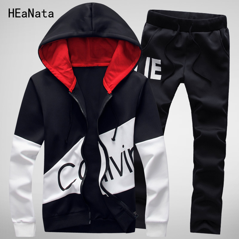 Sportswear Mens Set Brand Casual Tracksuit Men Hoodies Tracksuit Sets Letter Print Men Clothes 2 PCS Sweatshirt+Pants Track Suit