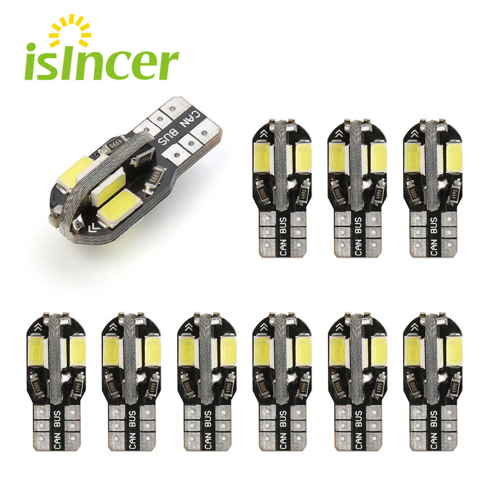 10PCS T10 Led Car Interior Bulb Canbus Error Free T10 White 5730 8SMD LED 12V Car Side Wedge Light White Lamp Bulb Car Styling