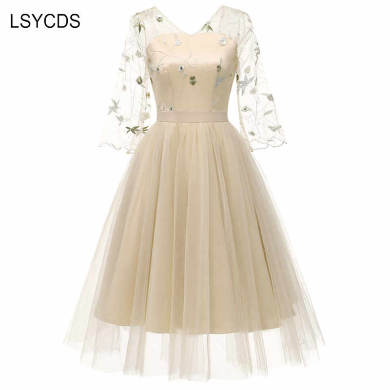 LSYCDS Autumn Women Dress 3/4 Flare Sleeve V-Neck Robe Gown Big Swing Retro Casual Party Vintage Embroidered Chiffon Mesh Dress