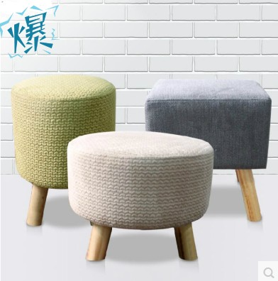 Past Fabric Sofa Stool Changing His Shoes Fashion Small
