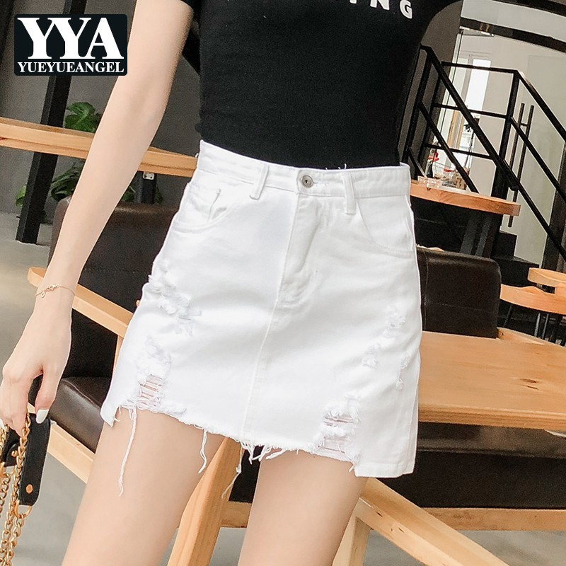 2019 New Women Denim Shorts Skirts Hole Tassel High Waist Mini Jeans Shorts Skirts Ladies Ripped Streetwear High Quality Clothes