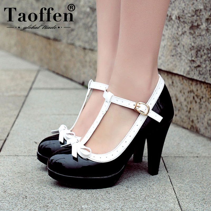 TAOFFEN Plus Size 32-48 Women Summer High Heels Shoes Woman T-strap Bowknot Pumps Lady Daily Work Dress Footwear