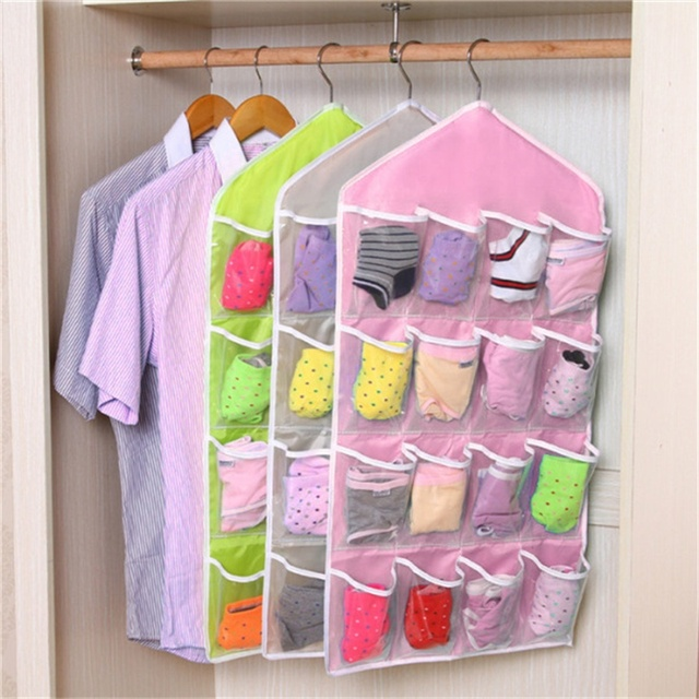 16 Pockets Wall Wardrobe Hanging Organizer Home Sundries Jewelry