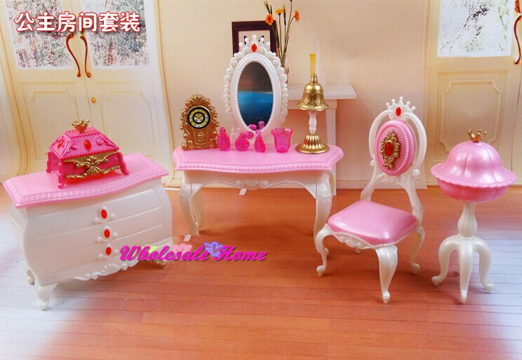 Doll Toy Dresser Chair Set Dollhouse Bed Room Furniture