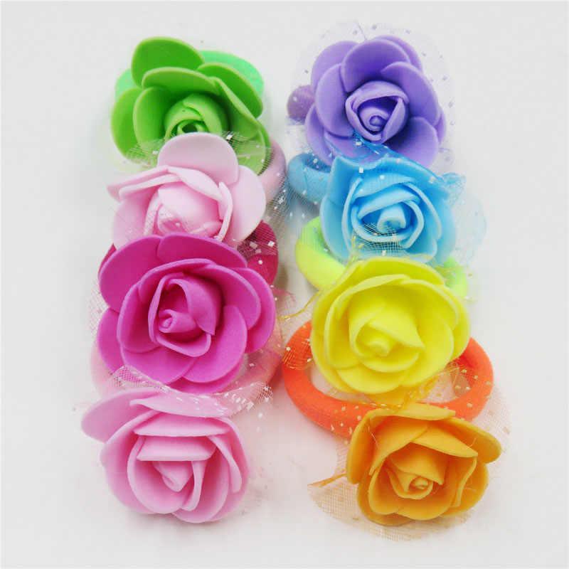 1PCS Pretty Rose สุทธิเส้นด้ายดอกไม้ผมวงยืดหยุ่นของเล่นสำหรับหญิง Handmade ผม Tie Scrunchy เด็กอุปกรณ์เสริมผมสำหรับสตรี